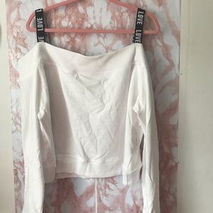 Ny & Co White Love Cold Shoulder Sweatshirt